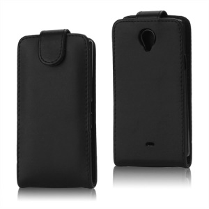 Premium Vertical Magnetic Leather Flip Case for Sony Xperia T LT30p LT30i Mint - Black