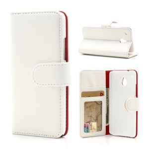 White Lychee Skin Card Holder Wallet Leather Stand Case for HTC One Mini M4