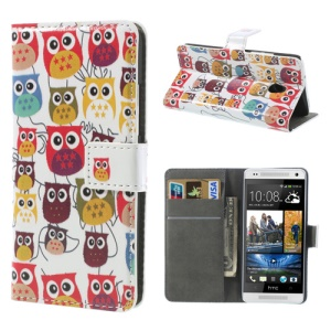 Multiple Owls for HTC One Mini M4 Folio Stand Leather Case Wallet