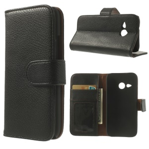 Litchi Texture Wallet Leather Stand Case for HTC One Mini 2 / M8 Mini - Black