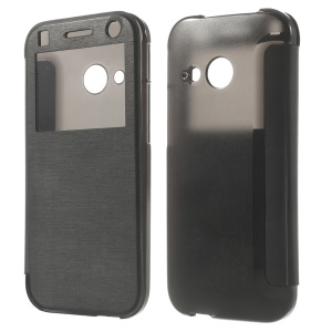 Black Folio View Window Leather Flip Case for HTC One Mini 2 / M8 Mini