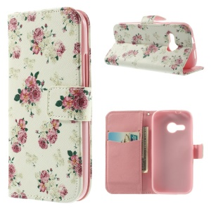 Charming Roses Magnetic Stand Leather Wallet Case for HTC One Mini 2 / M8 Mini