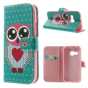 Cool Cartoon Owl Stand Leather Protector Case Wallet for HTC One Mini 2 / M8 Mini