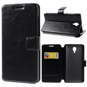 Crazy Horse Card Holder Leather Case for Xiaomi 4 MI4 - Black