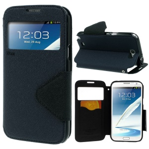 Roar Korea for Samsung Galaxy Note 2 N7100 Diary View Window Leather Stand Shell - Deep Blue