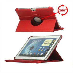 360 Degree Rotary Leather Case for Samsung Galaxy Note 10.1 N8000 N8010 - Red