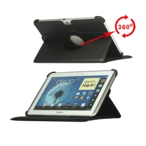 360 Degree Rotary Leather Case for Samsung Galaxy Note 10.1 N8000 N8010 - Black