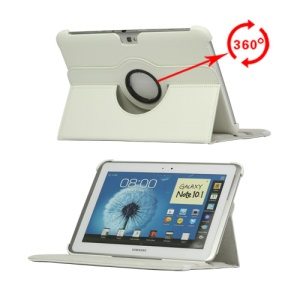 360 Degree Rotary Leather Case for Samsung Galaxy Note 10.1 N8000 N8010 - White