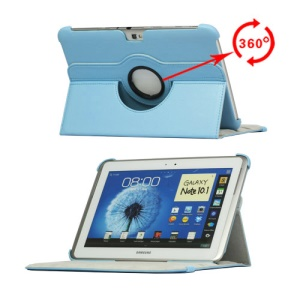 360 Degree Rotary Leather Case for Samsung Galaxy Note 10.1 N8000 N8010 - Light Blue