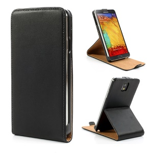 Genuine Split Leather Flip Case para Samsung Galaxy Note 3 N9005 N9002 N9000 - negro