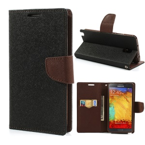 Mercury Goospery Leather Wallet Case for Samsung Galaxy Note 3 N9005 N9002 - Brown / Black