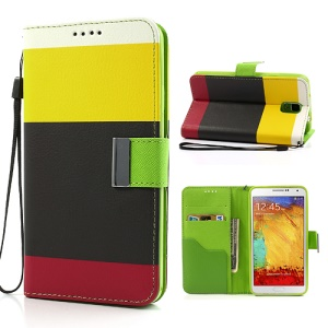 Multi Color TPU Inner Leather Wallet Case for Samsung Galaxy Note 3 N9005 - Yellow / Black / Red