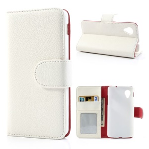 White Litchi Leather Skin Stand Case w/ Card Slots for LG Nexus 5