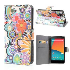 For LG Google Nexus 5 E980 D820 Colorful Flowers Wallet Leather Stand Case