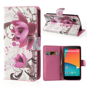 Lotus Flower Leather Wallet Cover Stand for LG Google Nexus 5 E980 D820