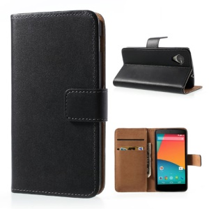 Genuine Split Leather Wallet Cover Stand for LG Google Nexus 5 E980 D820 - Black