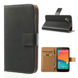 Black Genuine Leather Stand Cover Case for LG Google Nexus 5 E980 D820 w/ Card Slots