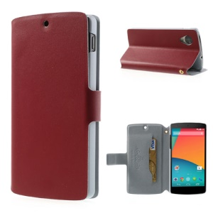 Red Doormoon Genuine Leather Stand Case for LG Google Nexus 5 E980 D820 with Card Slot