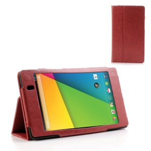 Red for Asus Google Nexus 7 (2013) II 2nd Generation Crazy Horse Leather Stand Case