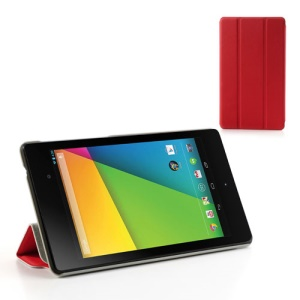 Red Tri-fold Folio PU Leather Stand Case for Asus Google Nexus 7(2013) II 2nd Generation