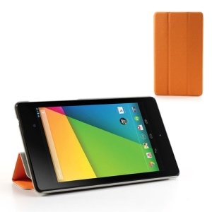 Orange Tri-fold Folio Stand Leather Case for Asus Google Nexus 7(2013) II 2nd Generation