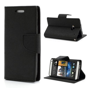 Mercury Fancy Diary Folio Wallet Leather Stand Case Cover for HTC One M7 801e - Black