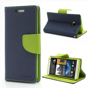 Mercury Fancy Diary Folio Wallet Leather Stand Case Cover for HTC One M7 801e - Green / Dark Blue