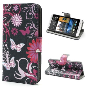 Butterfly & Flower Wallet Leather Stand Case Shell for HTC One M7 801e