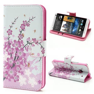 Pink Plum Design Wallet Card Leather Skin Case Stand for HTC One M7 801e