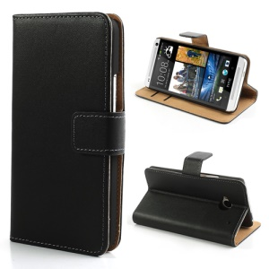 Black Folio Genuine Split Leather Wallet Case Stand for HTC One M7 801e