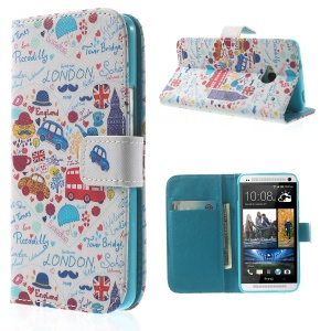 London Elements Wallet Leather Stand Case for HTC One M7 801e
