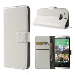 White Crazy Horse Wallet Leather Case w/ Stand for HTC One M8