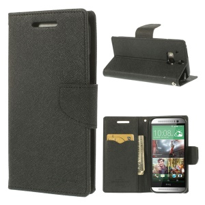 Mercury Fancy Diary Wallet Leather Stand Case for HTC One M8 - Black