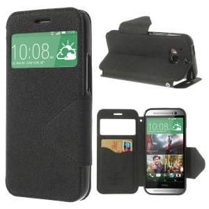 Roar Korea Diary View Leather Case for HTC One M8 w/ Card Slot - Black