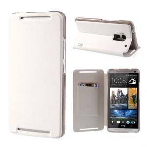 White Protective Brushed PU Leather Case Stand for HTC One Max