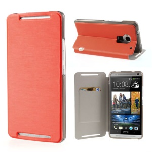 Orange Brushed PU Leather Card Slot Cover Stand for HTC One Max