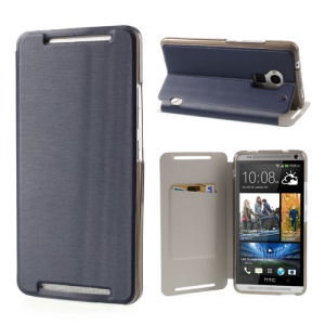 Dark Blue Brushed PU Leather Card Slot Case Stand for HTC One Max