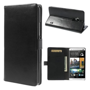 For HTC One Max Crazy Horse Leather Wallet Stand Case - Black