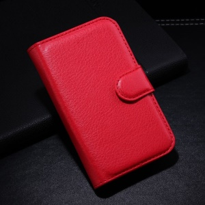 Red Litchi Wallet Stand Leather Protective Case for Alcatel One Touch Pop C1 OT-4015A OT-4015D