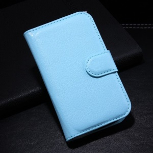 Blue Wallet Litchi PU Leather Shell w/ Stand for Alcatel One Touch Pop C1 OT-4015A OT-4015X