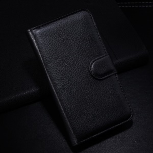 Black Litchi PU Leather Wallet Stand Case for Alcatel One Touch Pop S3 OT-5050A OT-5050Y