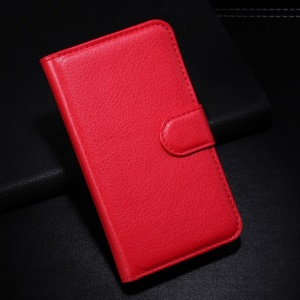 Red Litchi PU Leather Shell w/ Wallet & Stand for Alcatel One Touch Pop S3 OT-5050A OT-5050Y