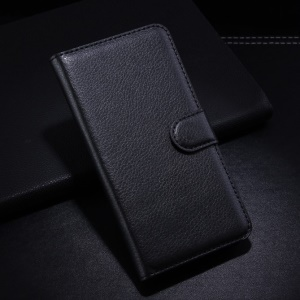 Black Lychee Wallet Leather Skin Case with Stand for Alcatel One Touch Idol 2 S OT-6050Y