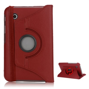 Folio Rotating Leather Stand Case for Samsung Galaxy Tab2 7.0 P3100 P3110 - Red