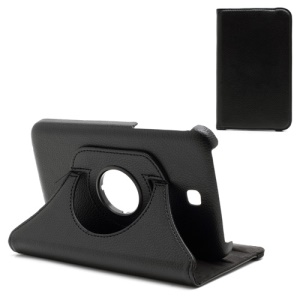360 Degree Rotary Stand Litchi Leather Case for Samsung Galaxy Tab 3 7.0 P3200 P3210 - Black