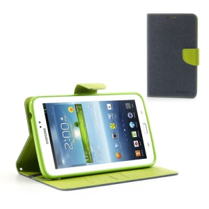 Mercury Goospery Fancy Diary Wallet Leather Stand Case for Samsung Galaxy Tab 3 7.0 P3200 P3210 - Green / Dark Blue