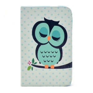 Cute Sleeping Owl PU Leather Stand Cover for Samsung Galaxy Tab 3 7.0 P3200 Kids T2105