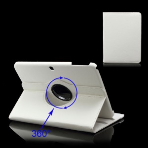 360 Degree Rotary Litchi Leather Cover for Samsung Galaxy Tab 3 10.1 P5200 P5210 - White