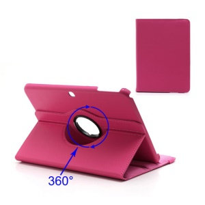 360 Degree Rotary Litchi Leather Shell for Samsung Galaxy Tab 3 10.1 P5200 P5210 - Rose