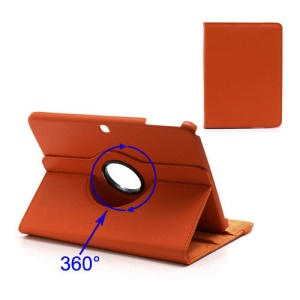 360 Degree Rotary Lychee Leather Case for Samsung Galaxy Tab 3 10.1 P5200 P5210 - Orange